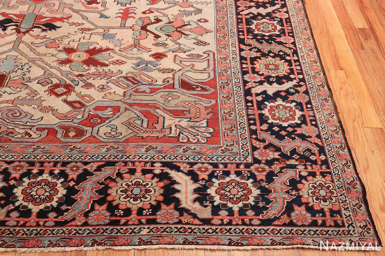 Oversize Antique Persian Heriz Serapi Persian Rug 44085 Side Corner Nazmiyal