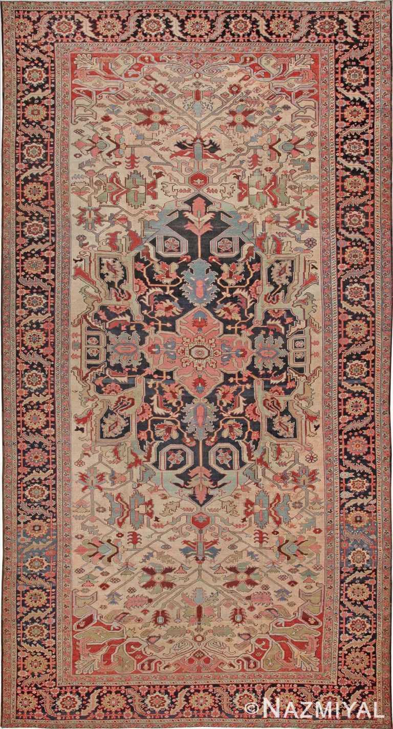 Oversize Ivory Antique Persian Heriz Serapi Area Rug 44085 by Nazmiyal Antique Rugs