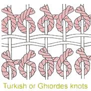 Turkish Ghiordes Rug Knot by Nazmiyal