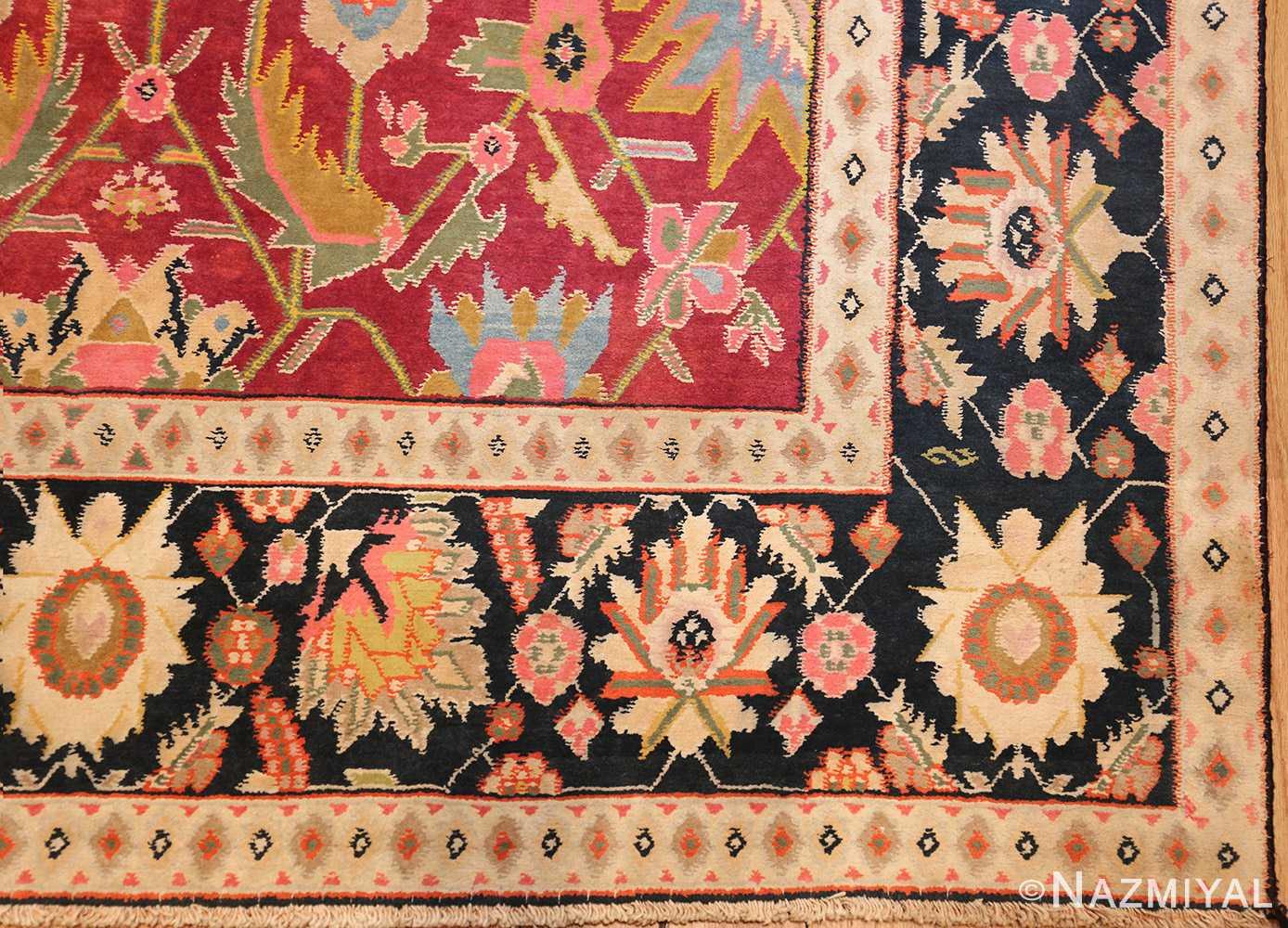 antique indian cotton agra rug 44380 corner Nazmiyal