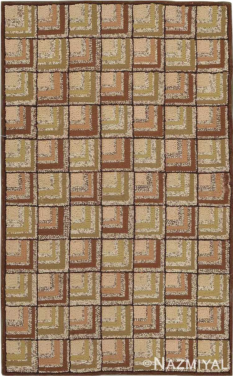 Small Scatter Size Antique American Green Hooked Rug #2790 by Nazmiyal Antique Rugs
