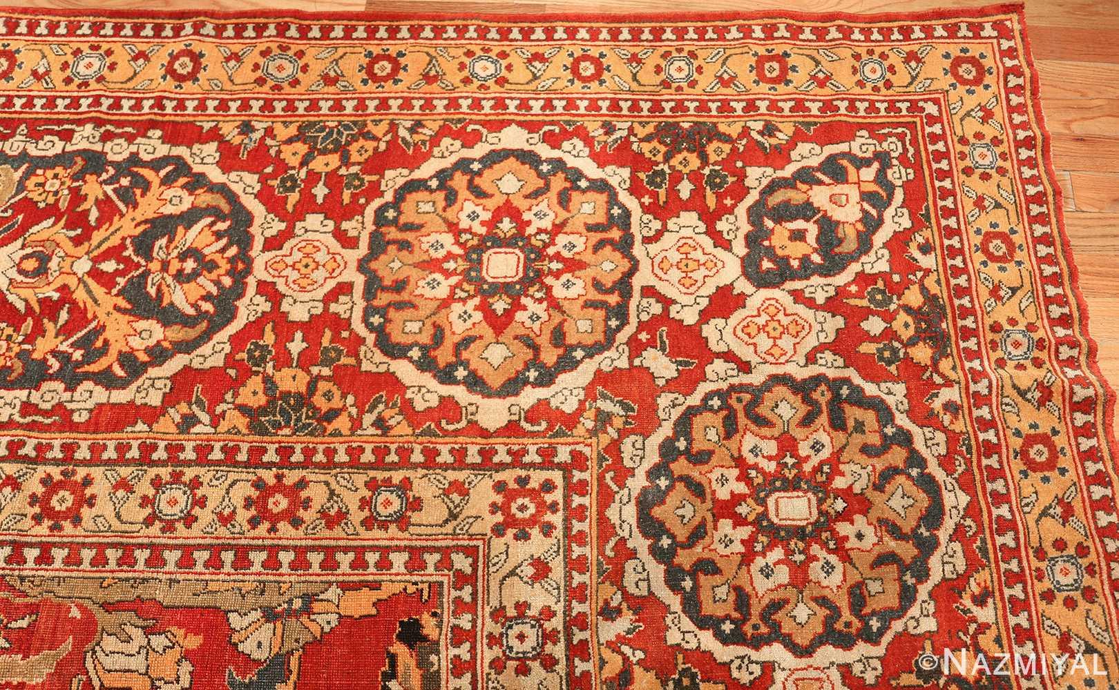 antique agra indian rug 44615 corner Nazmiyal