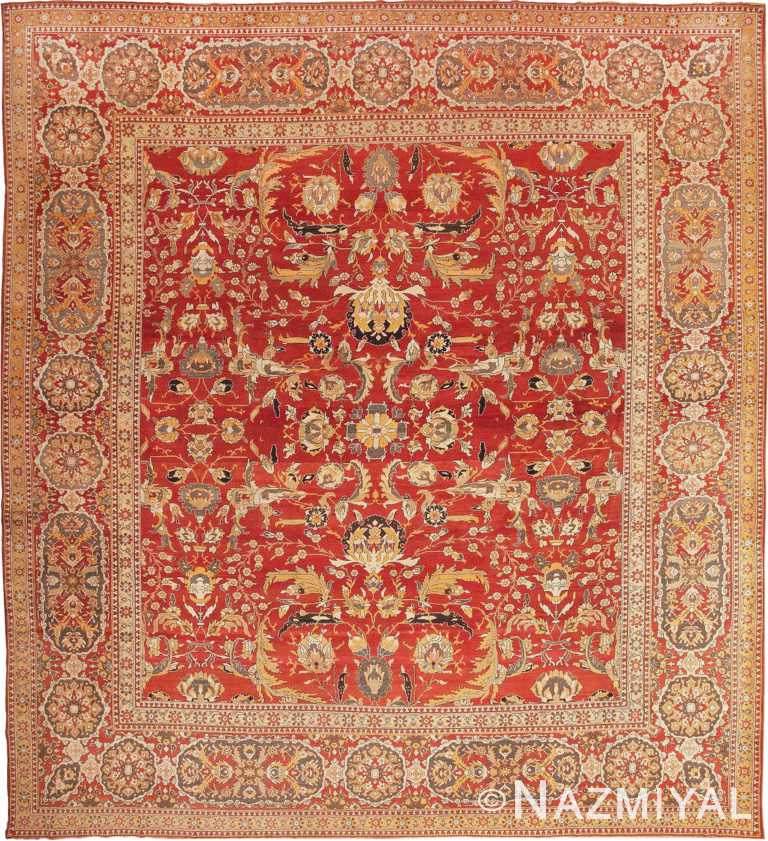 Large Square Antique Agra Indian Rug 44615 by Nazmiyal Antique Rugs