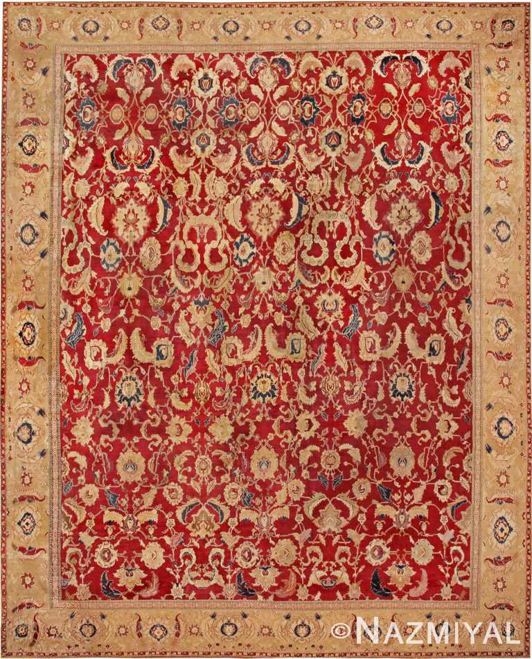 Large Red Antique Indian Agra Area Rug #44602 by Nazmiyal Antique Rugs