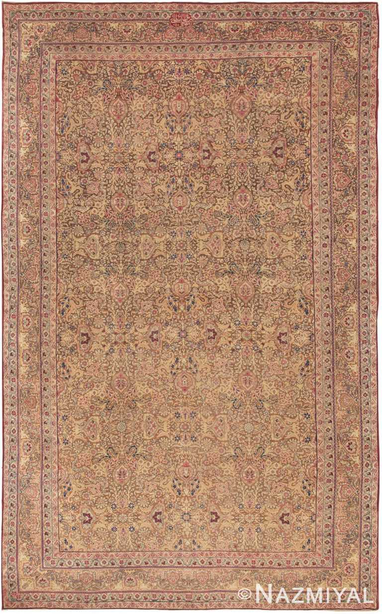 antique light brown background kerman persian rug 44491 Nazmiyal