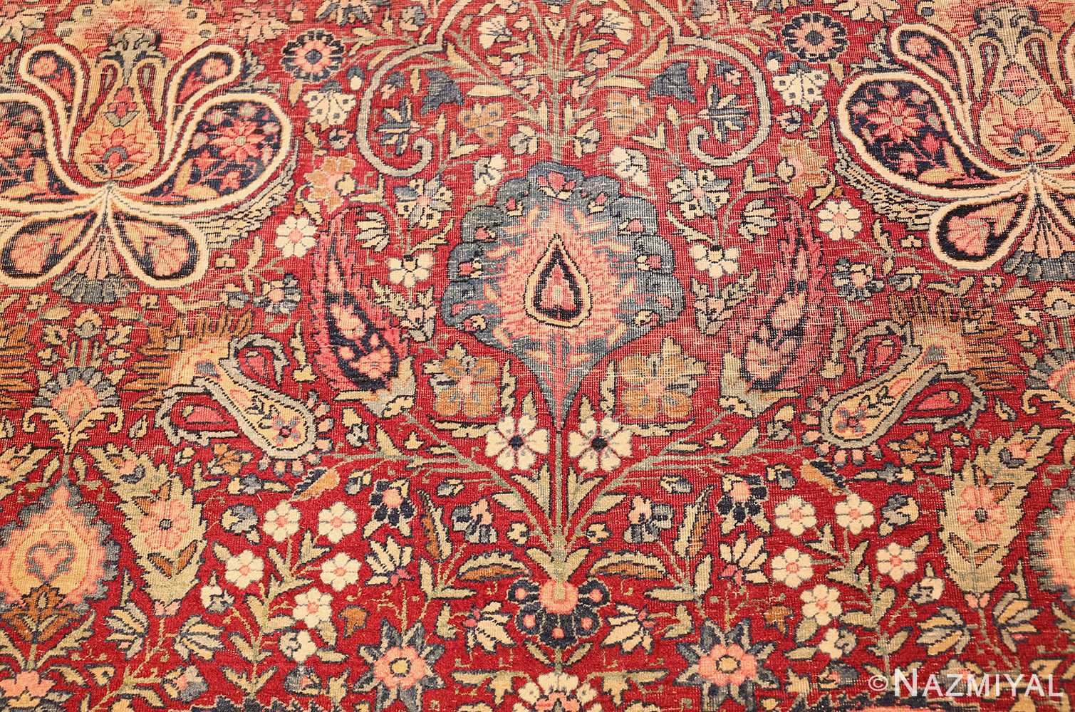 room size floral antique persian kerman rug 44646 design Nazmiyal