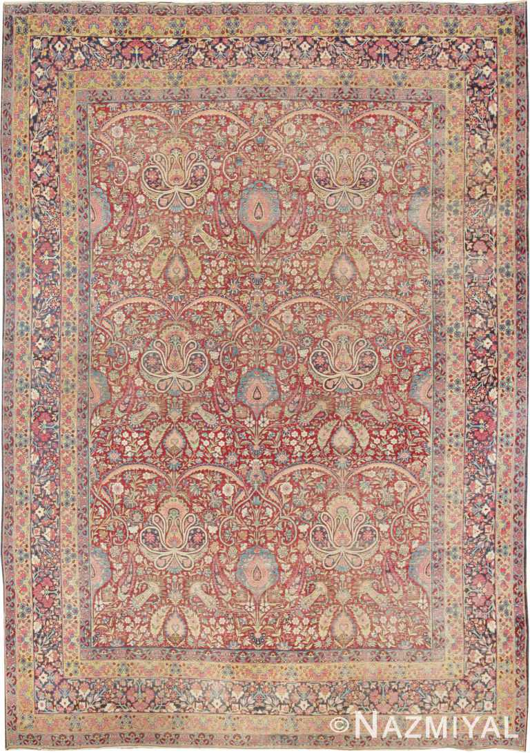 Room Size Red Color Floral Antique Persian Kerman Rug #44646 by Nazmiyal Antique Rugs