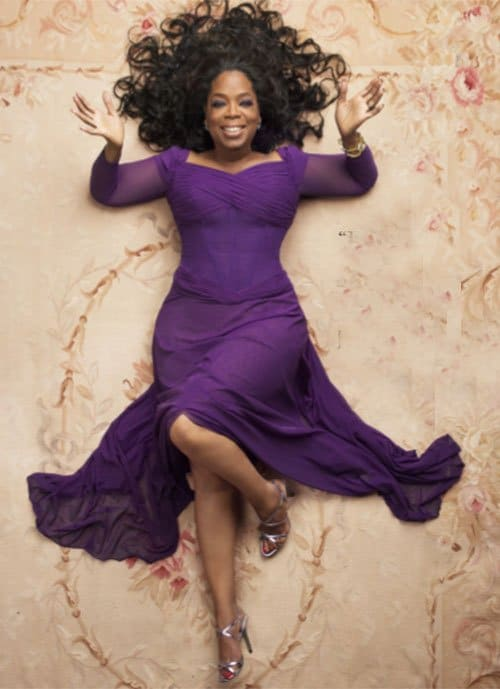 Oprah on an Aubusson Rug She Rented From Nazmiyal