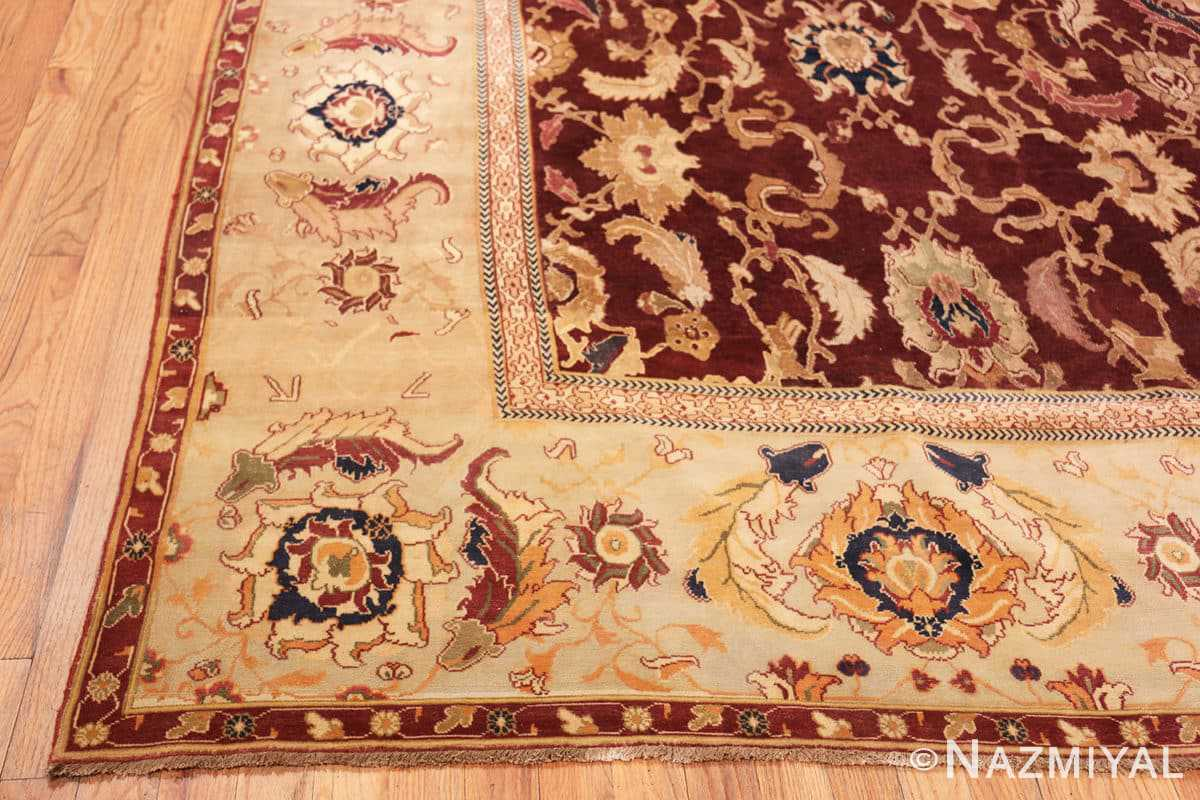 Corner Large Antique Oversized Indian Agra rug 44601 by Nazmiyal