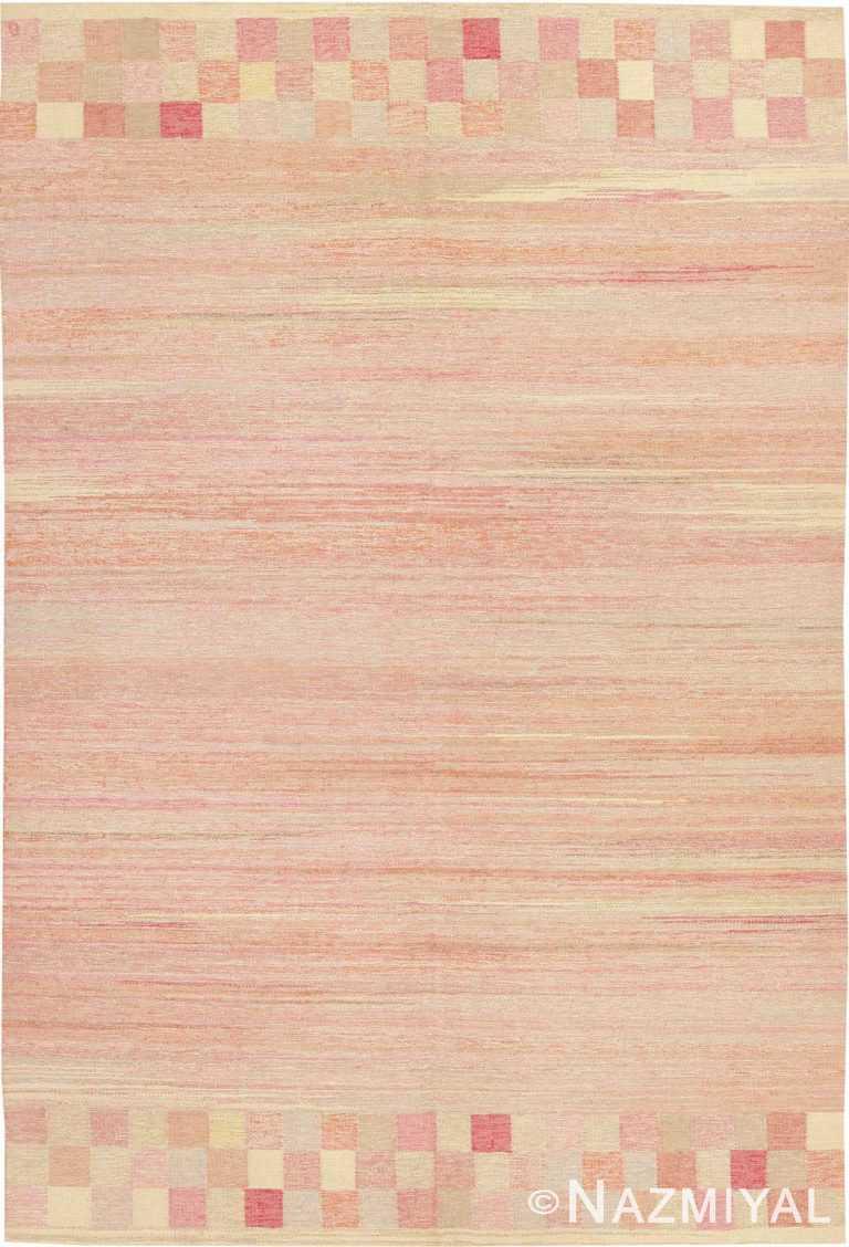 Soft Pink Vintage Room Size Swedish Kilim Rug 44880 by Nazmiyal Antique Rugs