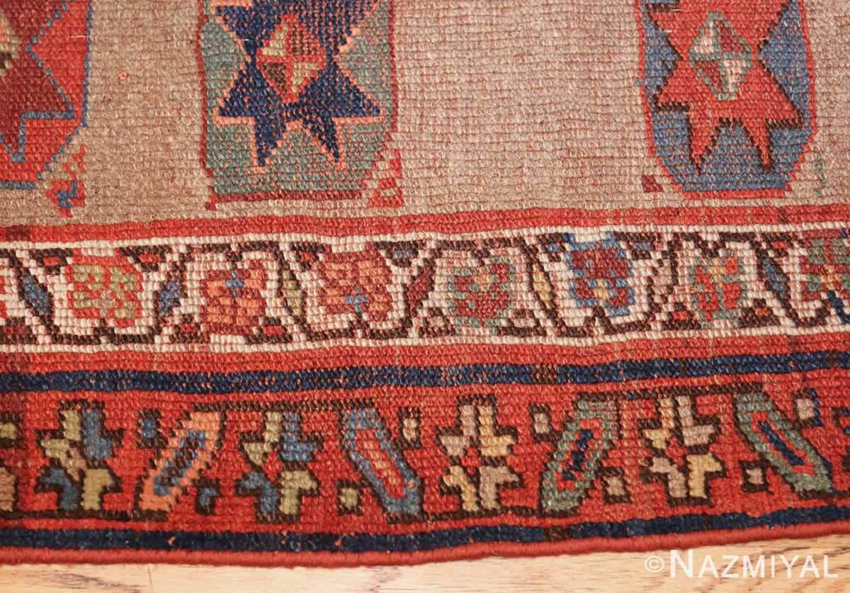 small scatter size tribal antique persian kurdish rug 44932 border Nazmiyal