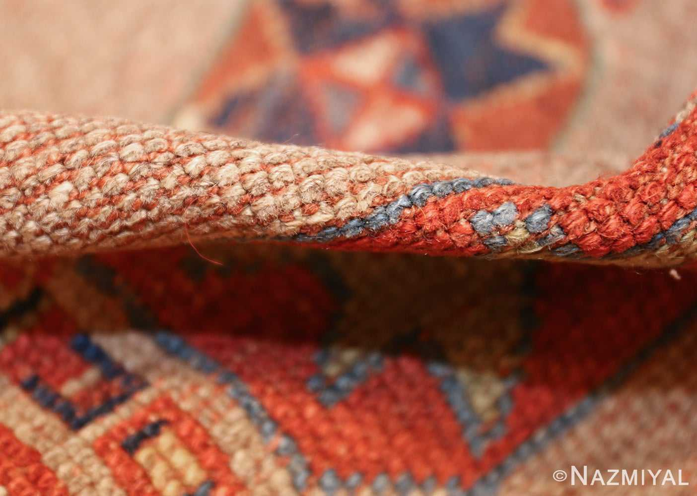 small scatter size tribal antique persian kurdish rug 44932 pile Nazmiyal