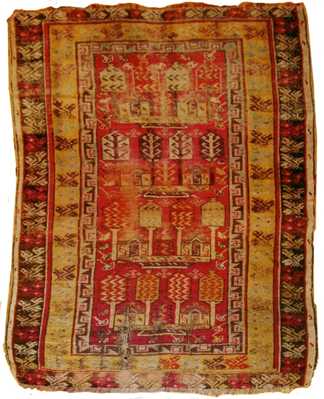 Restauration tapis antique avant