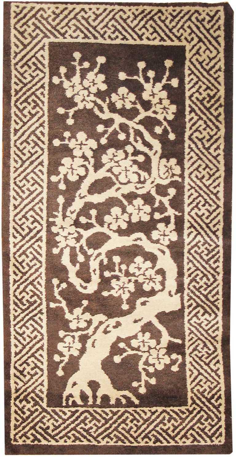 Small Brown Antique Peking Chinese Carpet 1620 by Nazmiyal