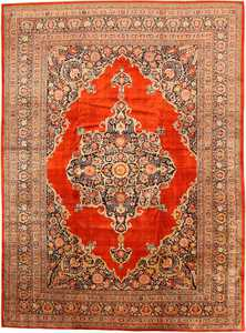 Picture of antique Persian Silk Tabriz Haji Jalili rug #7991 from Nazmiyal Antique Rugs in NYC