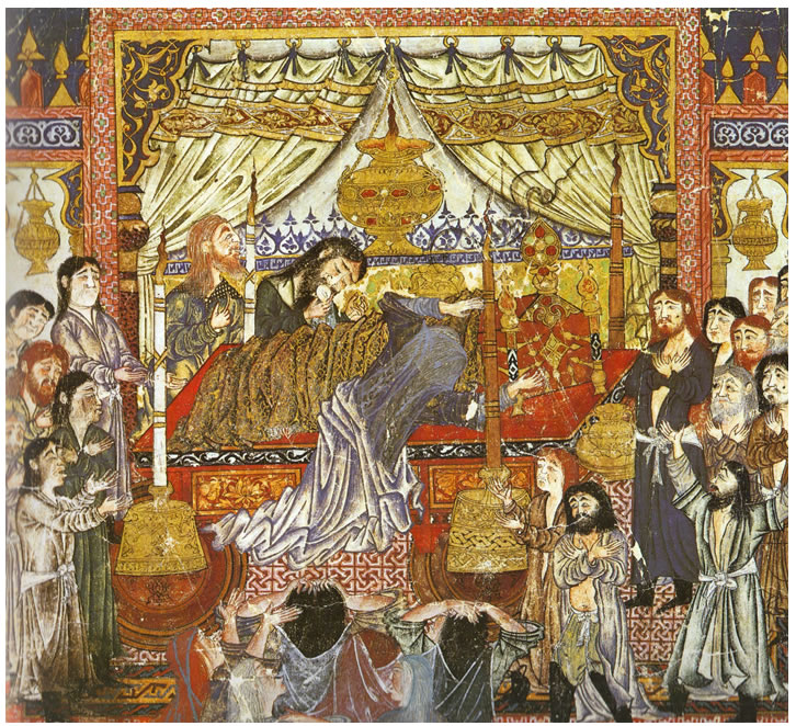 Depiction of Mongol period Rug beneath the Bier of Alexander, from the Firdausi Shahnameh, Bagdad, 1330-1336, Freer Gallery of Art, Washington D.C.,(from V. Gantzhorn, Oriental Carpets, ill. 227)