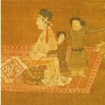 Depiction of 13th century Mongol Rug from Scroll of Lady Wen Chi, Metropolitan Museum of Art, New York (from V. Gantzhorn, Oriental Carpets, ill. 200).