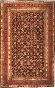 Brown Antique Oriental Oversized Indian Agra Rug 41340 Nazmiyal