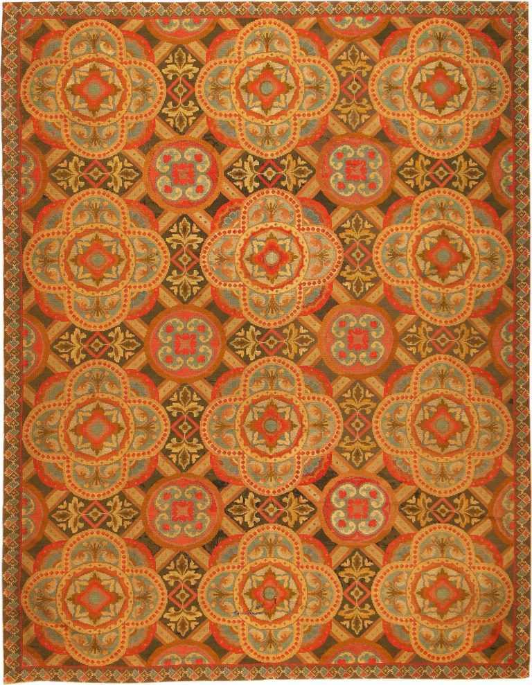 Antique Needlepoint English Rug 2633 Nazmiyal