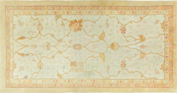 Ivory Background Antique Decorative Oushak Carpet From Turkey From Nazmiyal