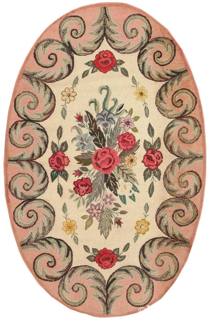 Antique Hooked American Rug 1646 Nazmiyal