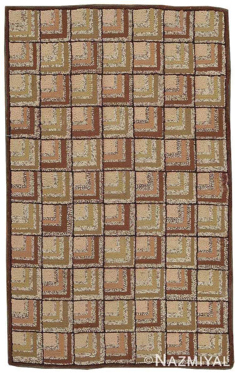 Antique American Hooked Rug 2790 Nazmiyal