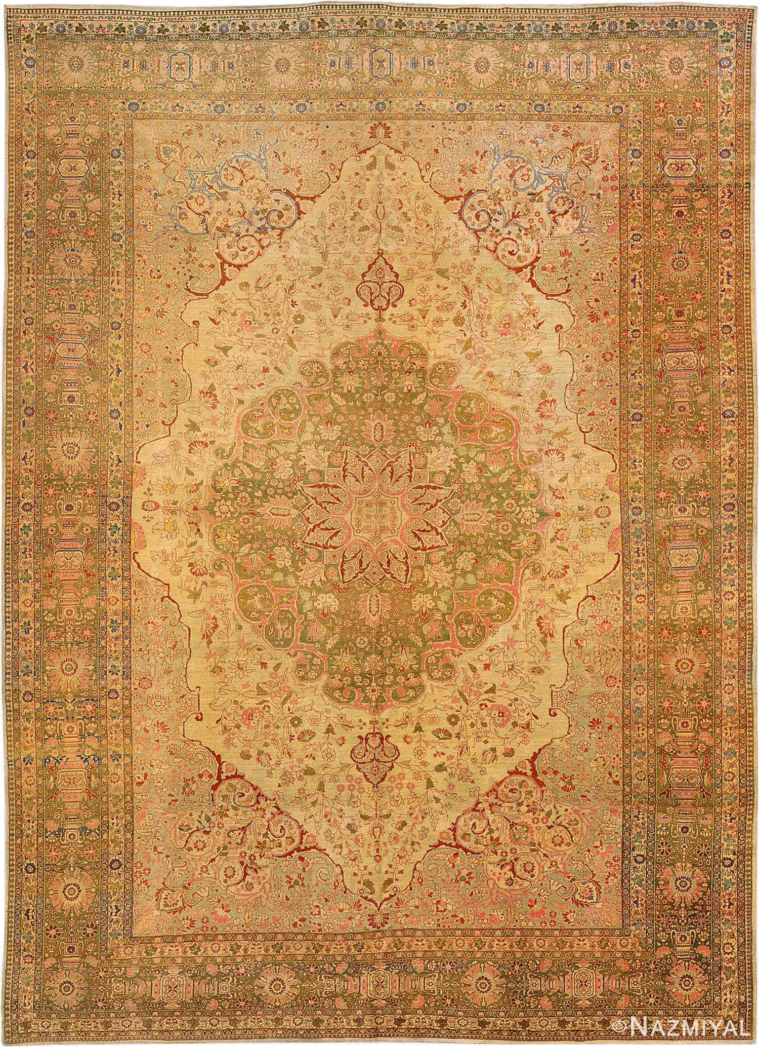 fine rare antique persian tabriz haji jalili rug 3035 nazmiyal Antique Rugs