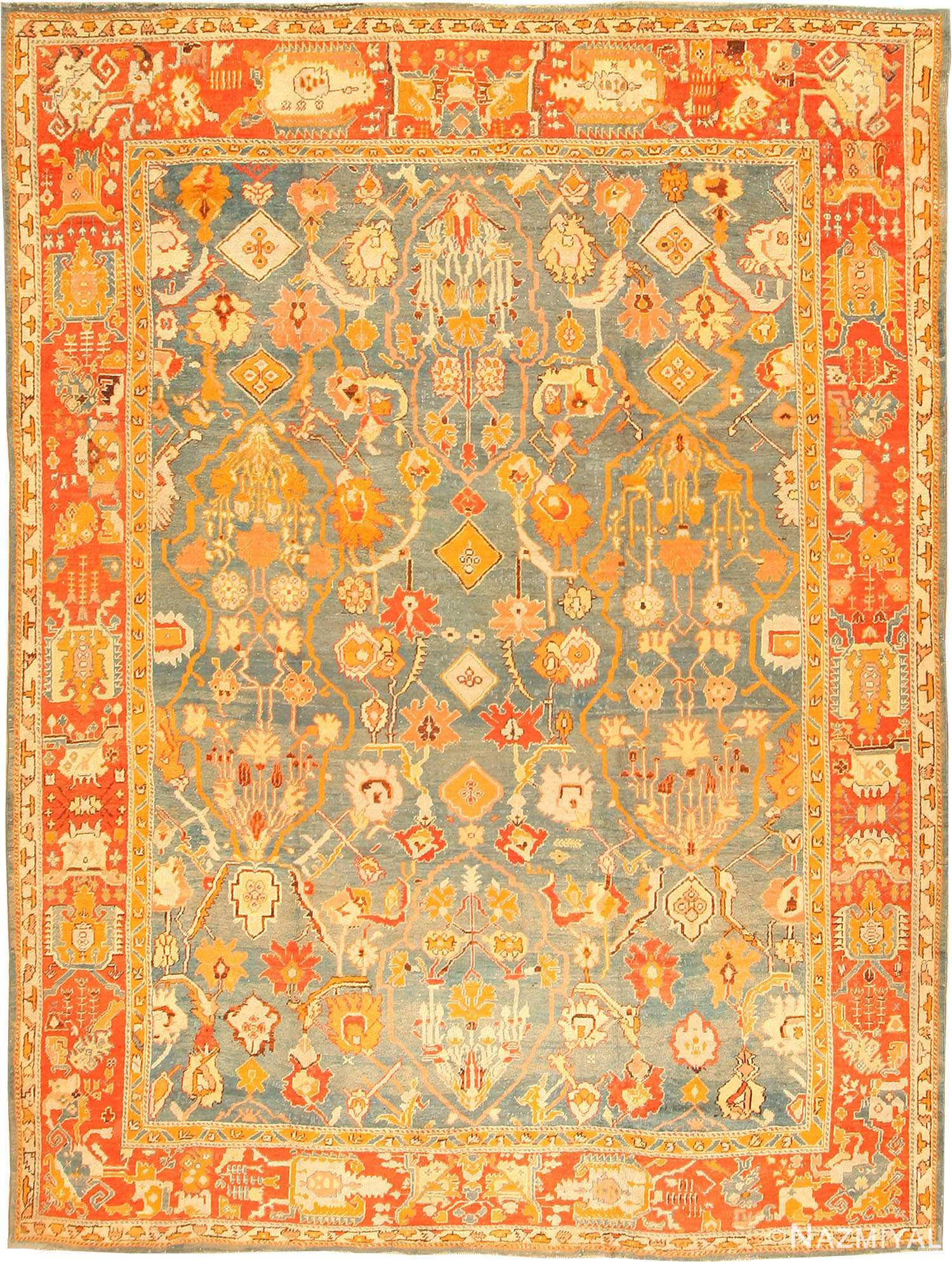 Antique oushak turkish rug 42078 nazmiyal collection for Turkish rugs