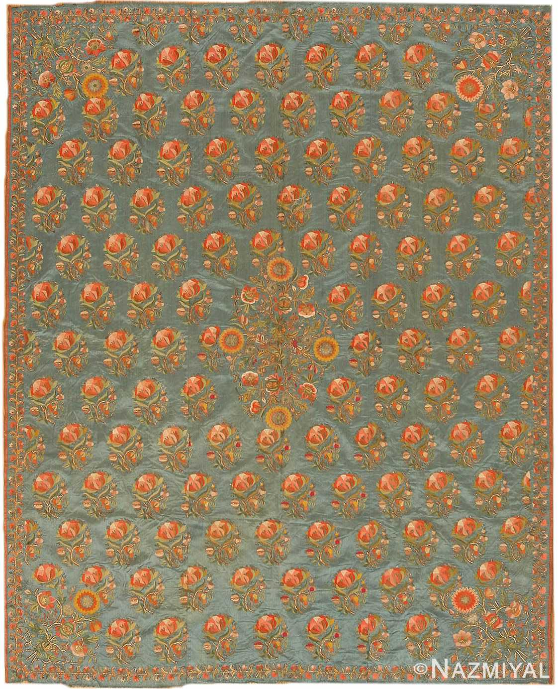 Antique Ottoman Embroidery Turkish Rug 42621 Nazmiyal
