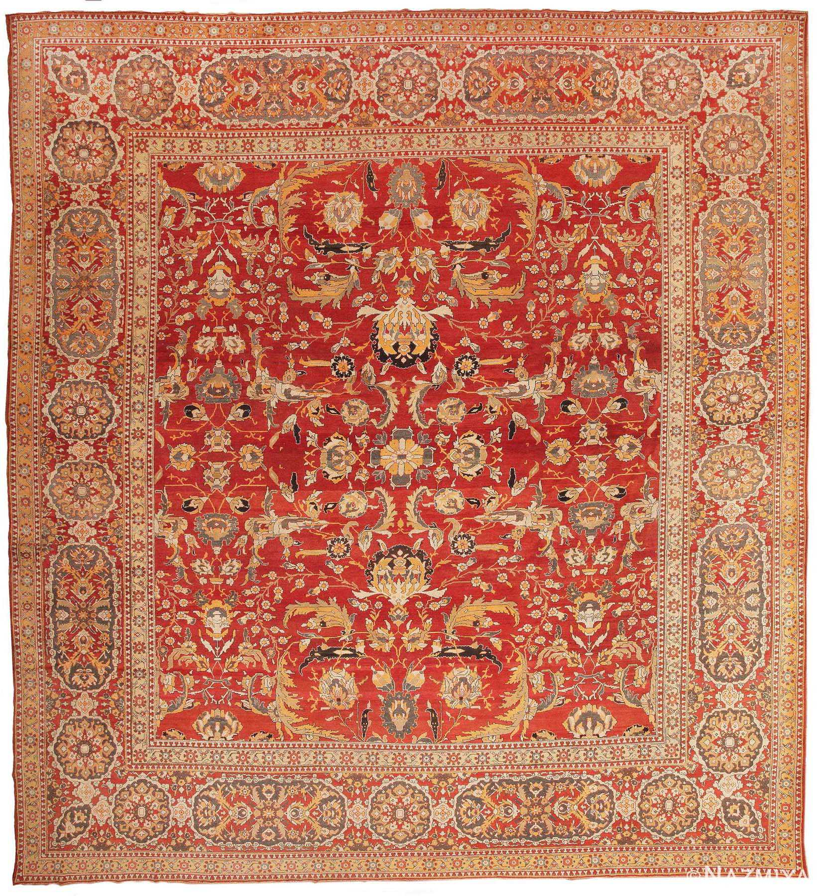 Large Square Antique Agra Indian Rug 44615 Nazmiyal
