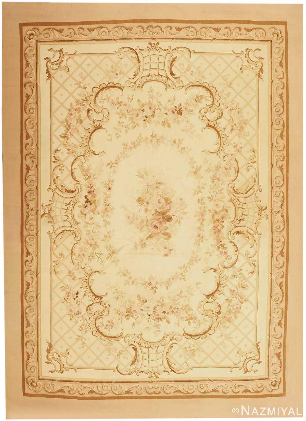 Antique Aubusson French Carpet 3086 Nazmiyal