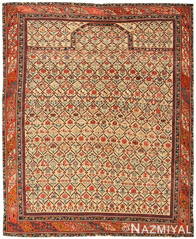 Antique Silk and Wool Dagestan Prayer Rug 43907 Nazmiyal
