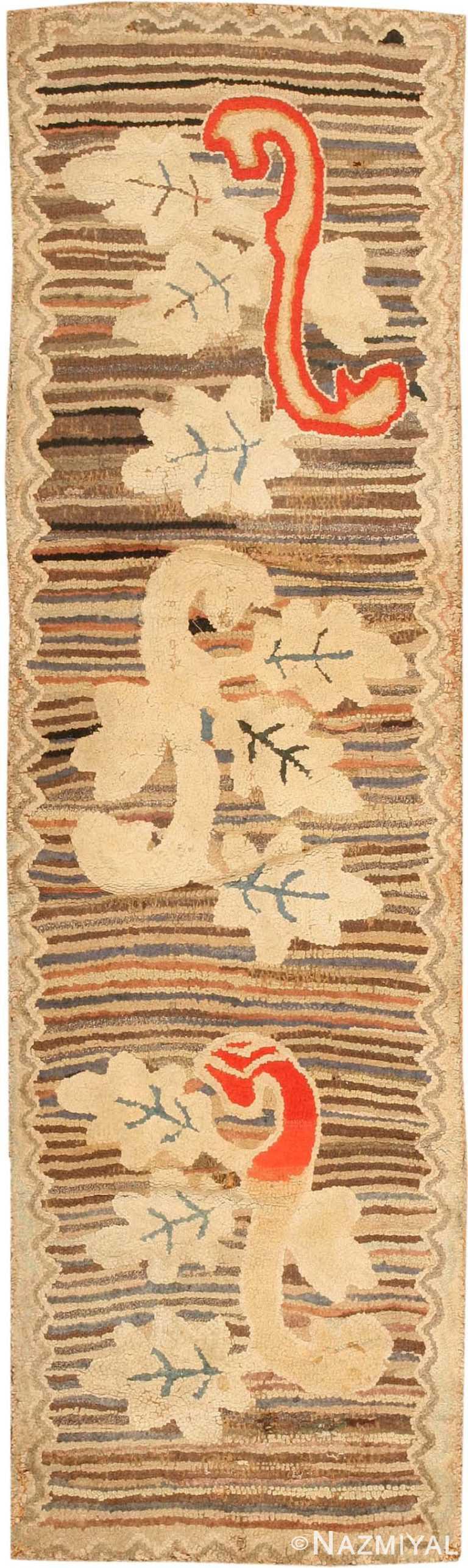 Antique Hooked American Rug 2545 Nazmiyal