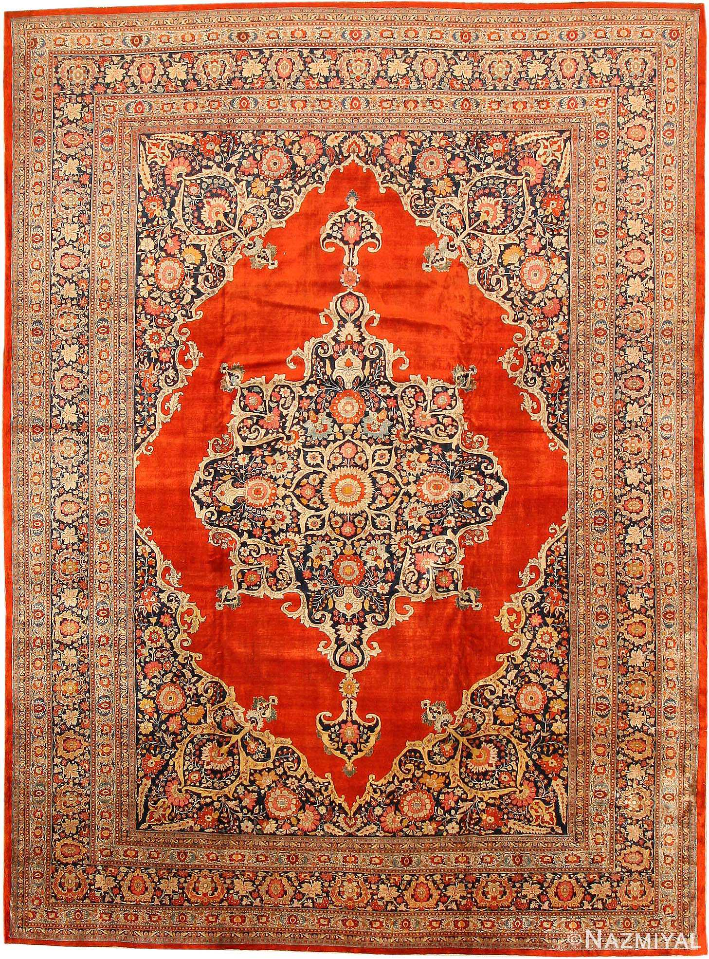 Antique Silk Tabriz Persian Rug 7991 Nazmiyal