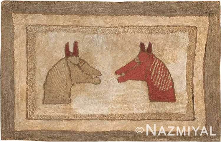 Antique Hooked American Rug #2559 by Nazmiyal Antique Rugs