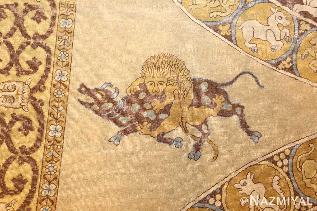 antique turkish tuduc rug 45077 lion Nazmiyal