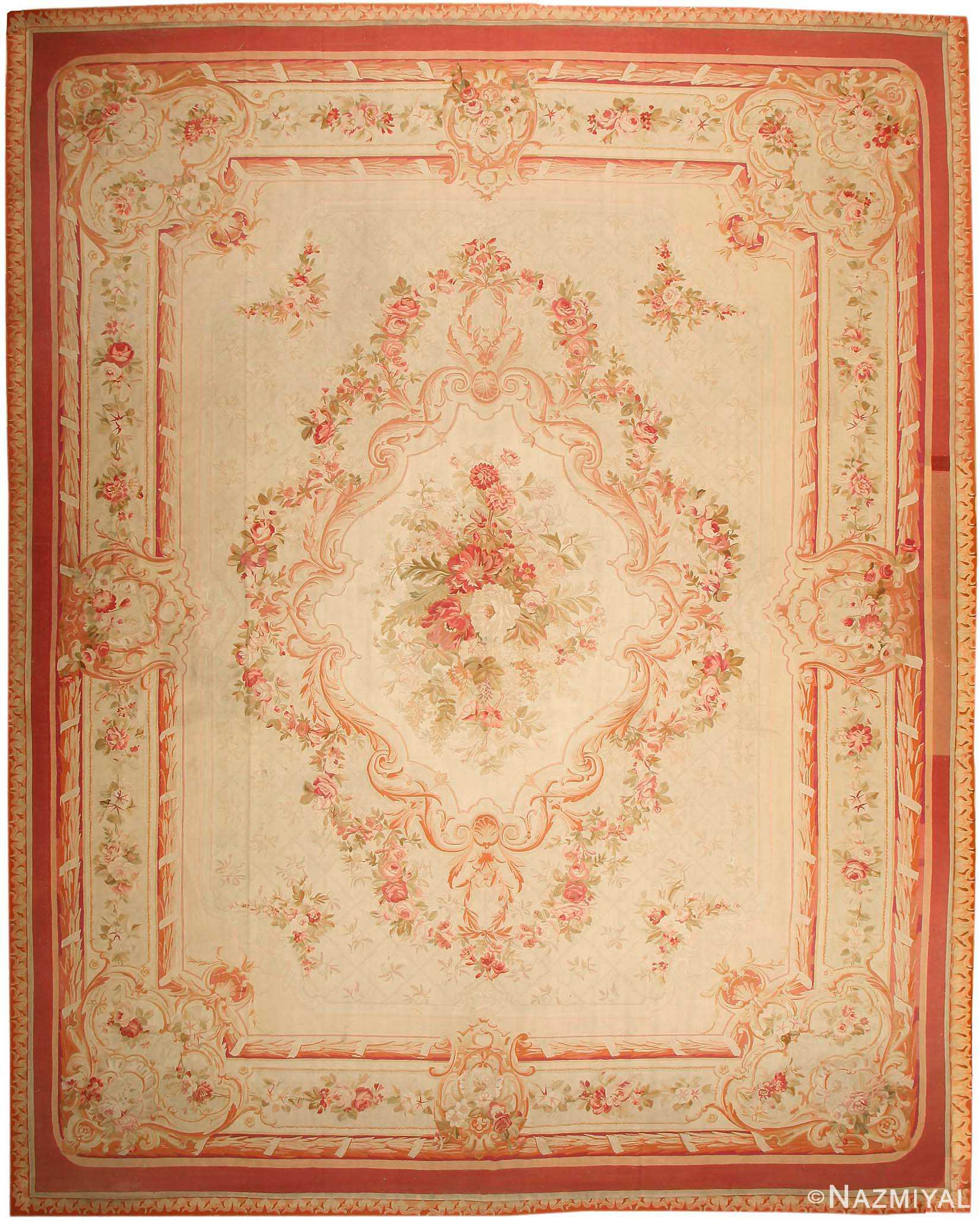Large Aubusson Rug: Large Floral Antique French Aubusson Rug 43646 By Nazmiyal