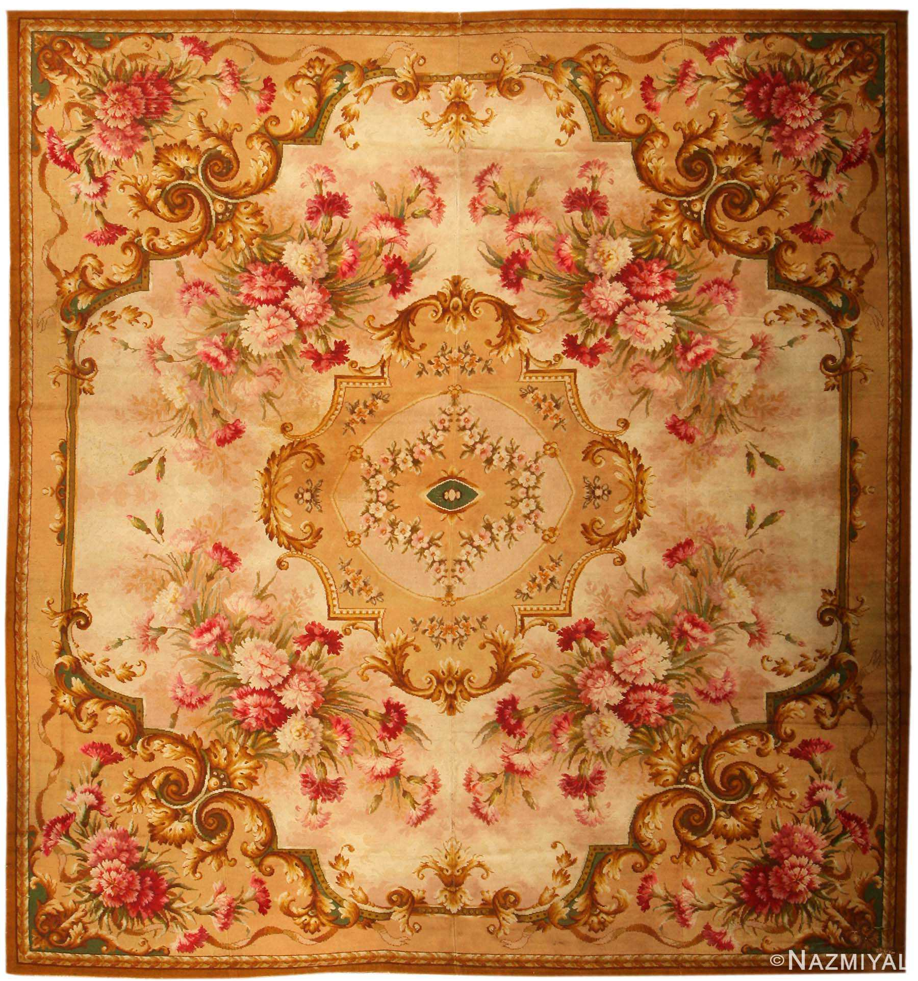Floral Antique English Axminster Rug 2409 By Nazmiyal