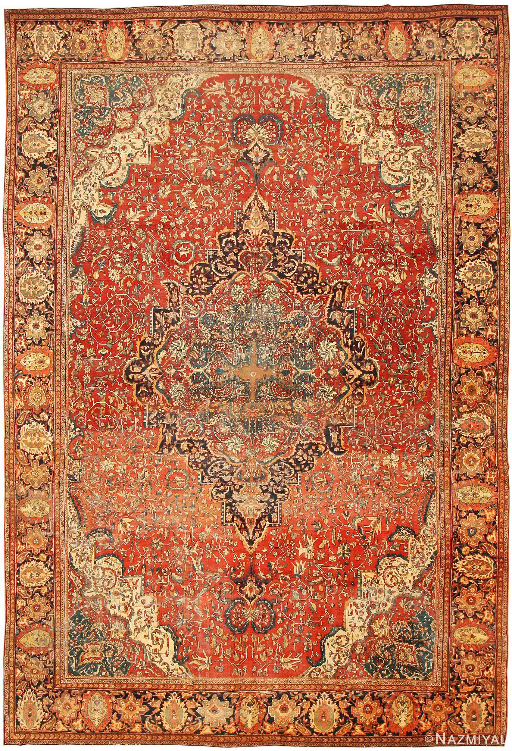 Antique Sarouk Farahan Persian Rug 43328 - Nazmiyal Collection
