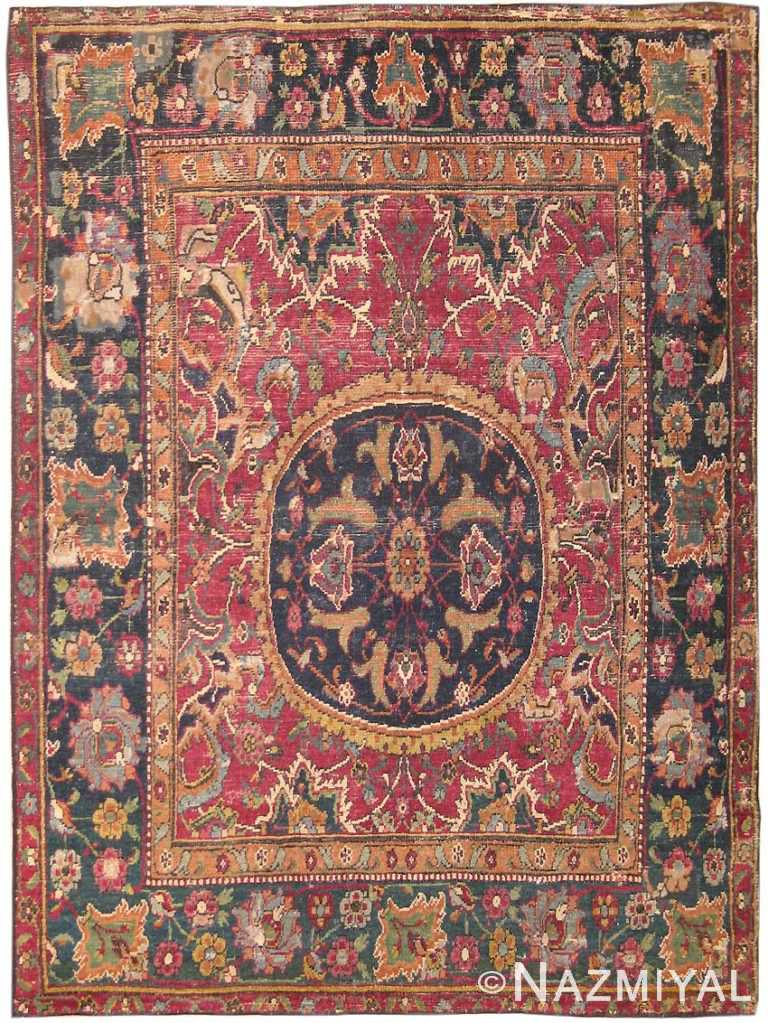 Antique 17th Century Silk and Wool Esfahan Persian Rug 8034 Nazmiyal