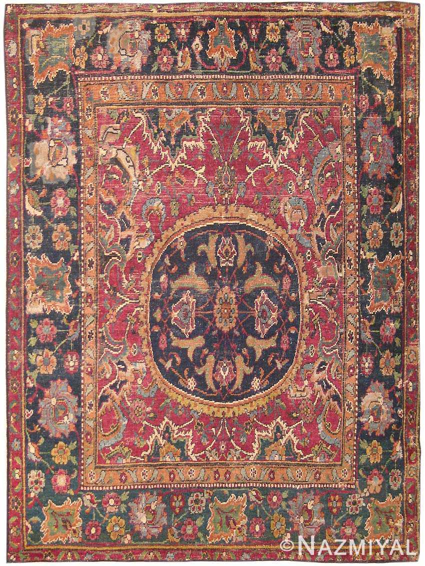 Antique 17th Century Silk and Wool Esfahan Persian Rug 8034 Nazmiyal