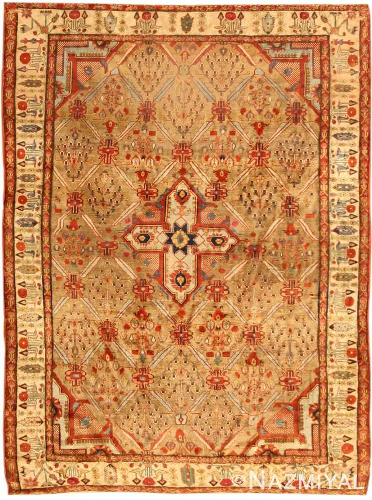 Antique Silk Heriz Serapi Persian Rug 40829 Nazmiyal