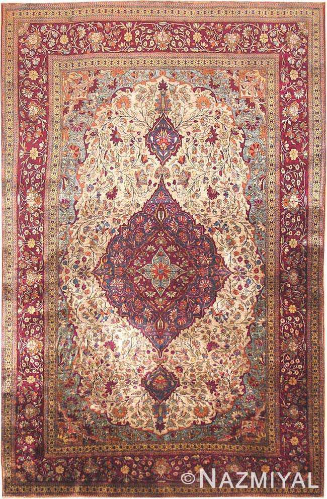 Fresh Antique Silk Kashan Persian Rug 3242 - Nazmiyal Collection IW03