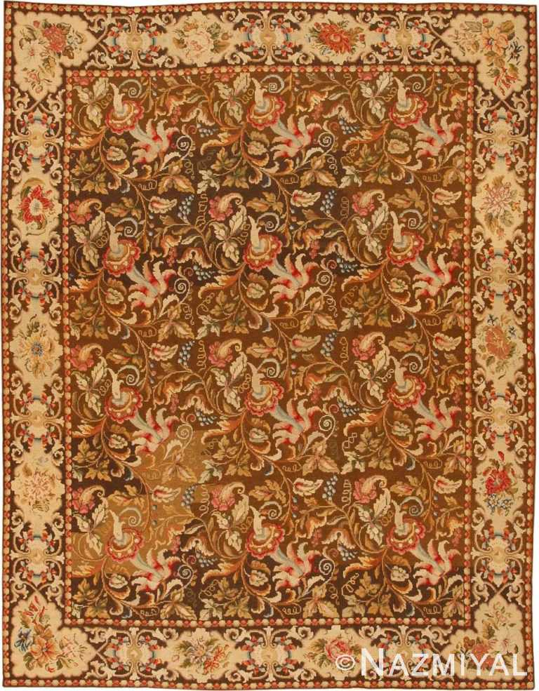 Antique Needlepoint Oriental Rug 3000 Nazmiyal