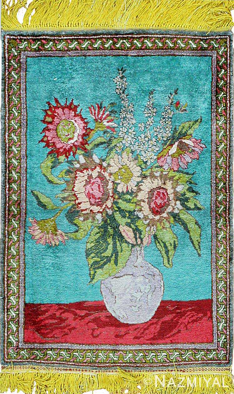 Antique Silk Tabriz Persian Rug 43388
