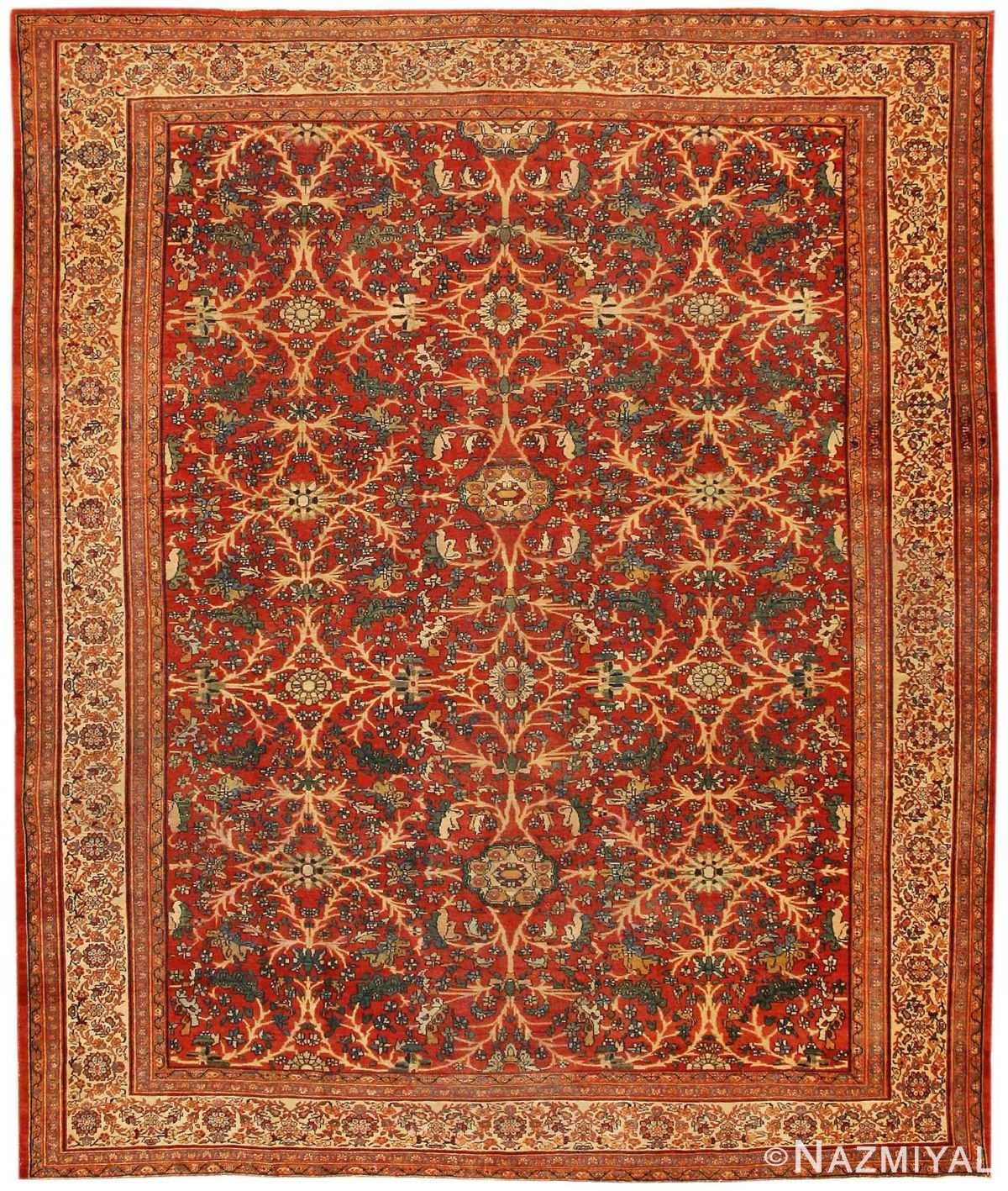 Antique Sarouk Farahan Persian Rug 43447 Nazmiyal
