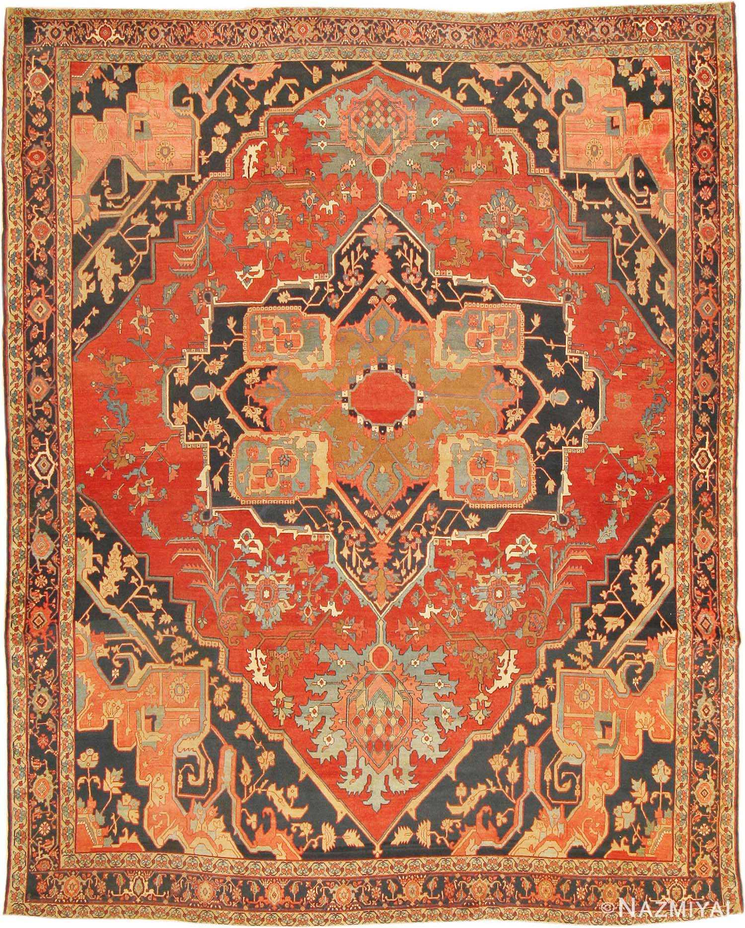 Antique Heriz Serapi Persian Rug 2570 Nazmiyal