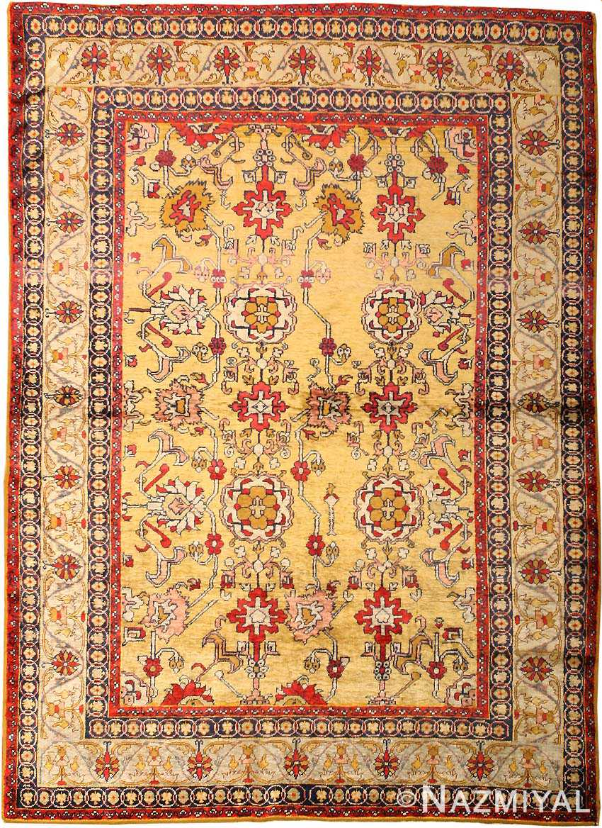 gold background antique silk turkish rug 1963 nazmiyal 87969