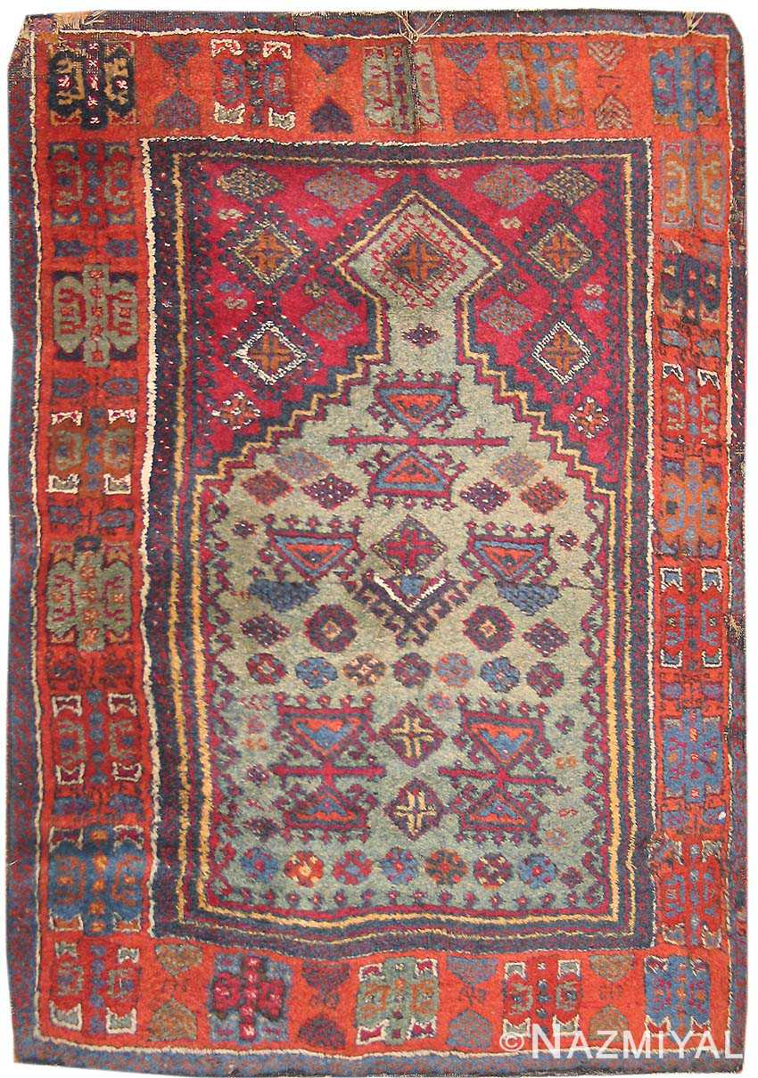 Antique Prayer Design Turkish Yuruk Burnt Sienna Rug 2794
