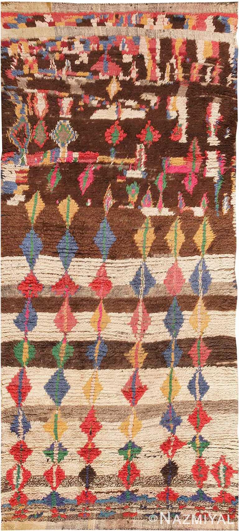 Mid Century Vintage Folk Art Moroccan Rug #45013 by Nazmiyal Antique Rugs